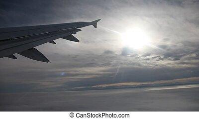 vol, sur, nuages, soleil