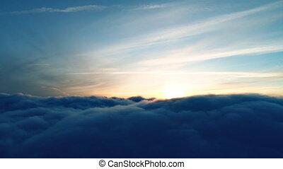 vol, sur, vrai, crépuscule, nuages