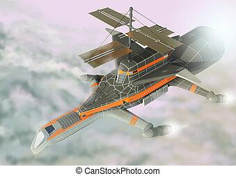 vol, vaisseau spatial, au-dessus, clouds.