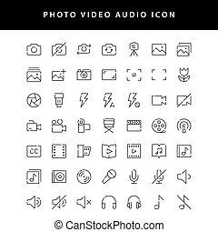 vol1, vidéo, contour, icône, photo, ensemble