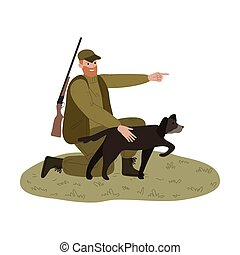 volaille, côté, sien, chasseur, pointage doigt, chien, homme