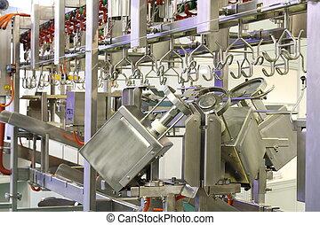volaille, ligne, automatisé, carcasses., portioning, découpage