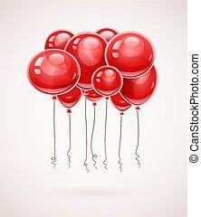 volando alto, compleanno, palloni, rosso, aria