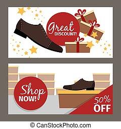 volantini, orizzontale, uomini, scarpe, pubblicità