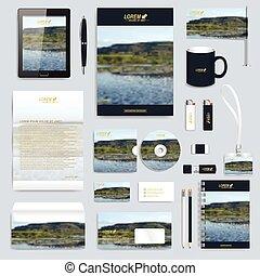 volantino, presentazione, penna, pc, astratto, distintivo, ...