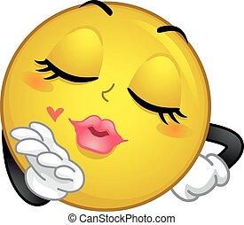 volare, bacio, smiley, mascotte