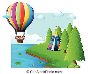 volare, balloon, bambini, scena