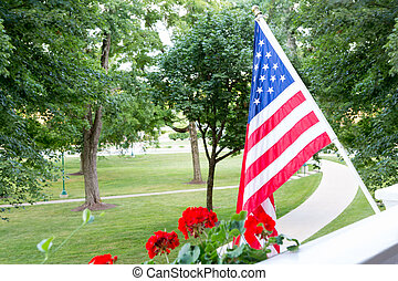 volare, bandiera americana, o, patio, balcone