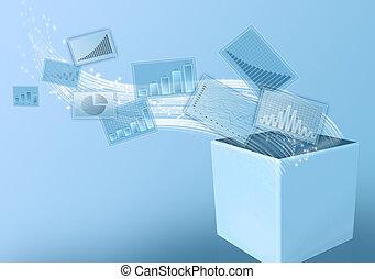 volare, bianco, box., economico, grafici