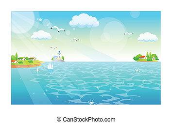 volare, fenicotteri, mare, sopra