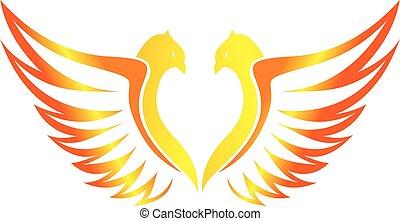 volare, fiammeggiante, amore, phoenix