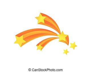 volare, illustrazione, quattro, fondo., vettore, stelle, arc., bianco, saluto