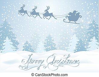 volare, inverno, claus, cielo, contro, santa, renna, foresta...