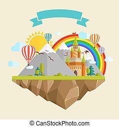 volare, isola, con, castello racconto fairy, palloni, montagne, nubi, albero, sole, arcobaleno, drago, e, nastro
