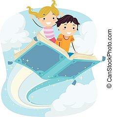 volare, libro, stickman, magico, bambini