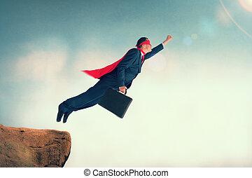 volare, superhero, uomo affari
