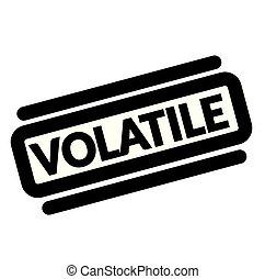 volatile black stamp, sticker, label on white background