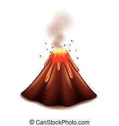 volcán, blanco, vector, aislado
