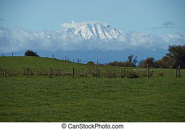 volcán, en, rural, chile