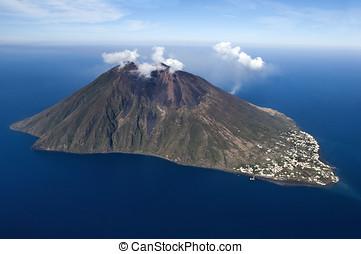 volcán, eolie, stromboli, isla