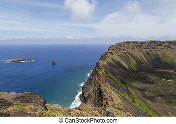 volcán, rano, kau, en, rapa nui, isla de pascua