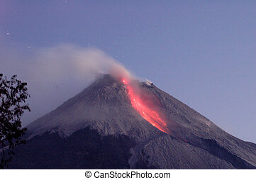 volcan, éruption, actif
