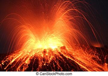 volcan, éruption, nuit