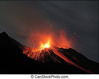 volcan, éruption, strombolian