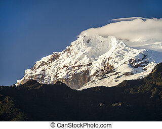 volcan, antisana, neige, équateur, couvert