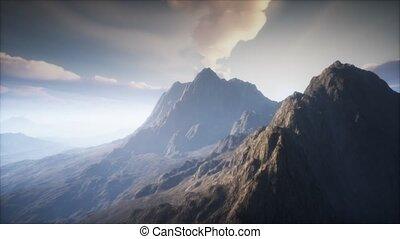 volcan, brouillard, paysage, cratère