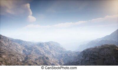 volcan, cratère, brouillard, paysage