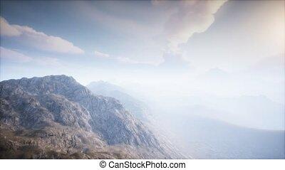 volcan, cratère, paysage, brouillard