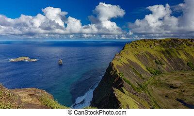 volcan, défaillance, cratère, ranu, kau, temps, îles