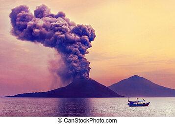 volcan, eruption., anak, krakatau, indonésie