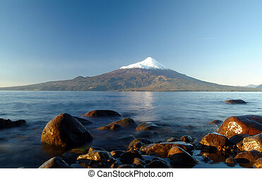 Bottom view of Lake Llanquihue with Osorno Volcano in the background