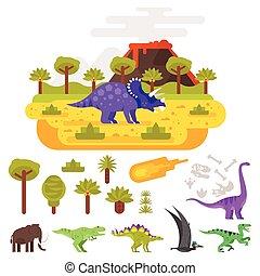 volcan, préhistorique, dinosaurs., paysage