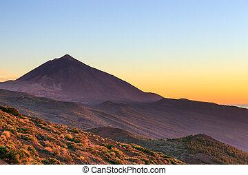 volcan, teide, sur, canari, coucher soleil, espagne,...