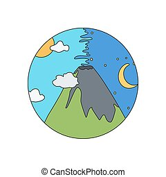 volcan, vecteur, griffonnage, icône