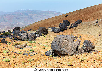 Volcanic bombs on Montana Blanca, Teide National Park,...
