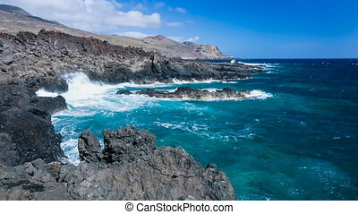 Volcanic Coastline In La Palma, Spain - Black volcanic lava...