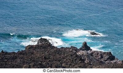 Volcanic Coastline In La Palma, Spain - High angle view to...