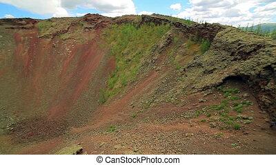 Volcanic crater panorama, near Terkhiin Tsagaan Lake,...