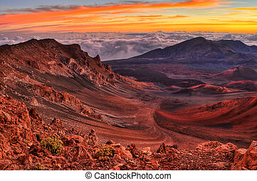 Volcanic Crater - Volcanic crater landscape with beautiful...