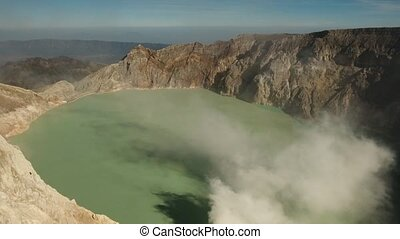 Volcanic crater, where sulfur is mined. - Crater with acidic...