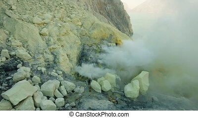 Volcanic crater, where sulfur is mined. - Extraction of...