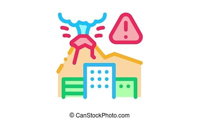 volcanic eruption Icon Animation. color volcanic eruption animated icon on white background
