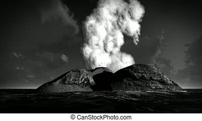 Volcanic eruption on island animation