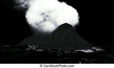 Volcanic eruption on island animation