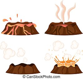 Volcanic Eruption Stages Illustrations Collection