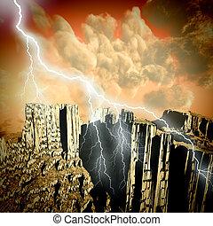 Volcanic eruption with huge  lightning